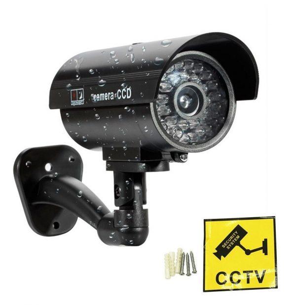 Bullet IR Dummy Fake Security CCTV Surveillance Camera LED Sensor Light Sliver